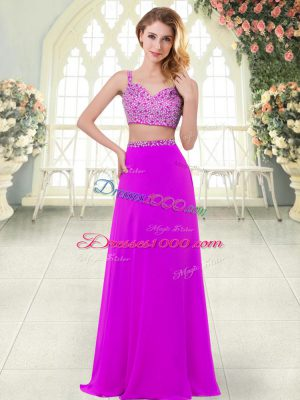 Purple Two Pieces Beading Prom Party Dress Zipper Chiffon Sleeveless Floor Length