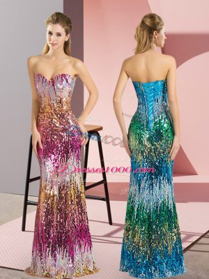 Designer Purple and Multi-color Column/Sheath Sweetheart Sleeveless Floor Length Lace Up Beading and Sequins Formal Dresses