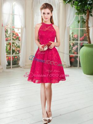 Elegant Sleeveless Zipper Knee Length Lace Prom Party Dress