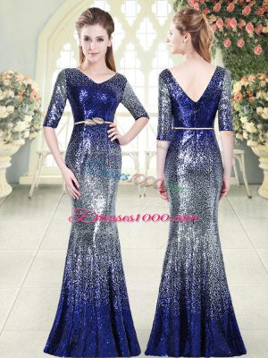 Royal Blue Sequined Zipper Prom Gown Half Sleeves Floor Length Belt