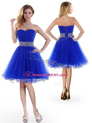 Royal Blue Sleeveless Beading Knee Length Party Dress for Girls