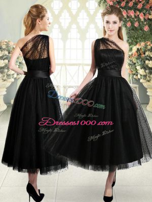 Top Selling Tea Length A-line Sleeveless Black Prom Gown Side Zipper