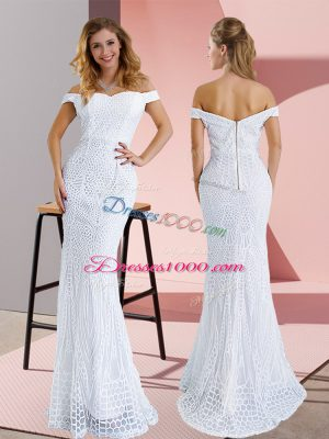 White Mermaid Off The Shoulder Sleeveless Ruching Zipper Prom Evening Gown Sweep Train