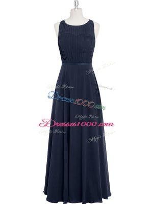 Sophisticated Ruching Dress for Prom Black Zipper Sleeveless Floor Length