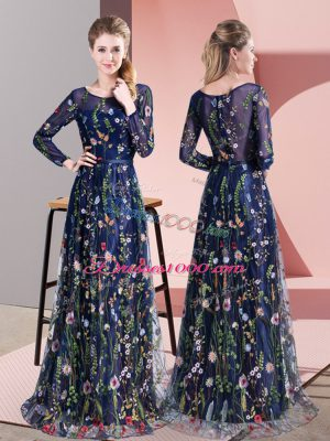 Discount Long Sleeves Pattern Zipper Homecoming Dress with Multi-color Sweep Train
