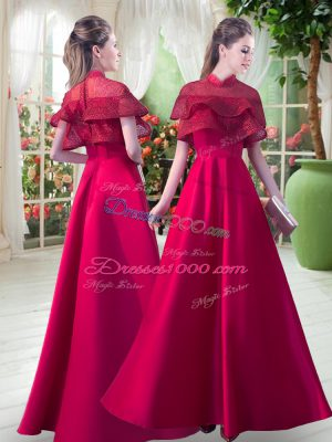 Red Zipper Evening Gowns Lace Short Sleeves Floor Length