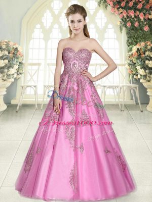 Tulle Sweetheart Sleeveless Lace Up Appliques in Rose Pink