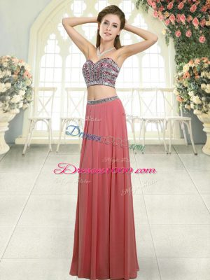 Superior Sweetheart Sleeveless Prom Dresses Floor Length Beading Watermelon Red Chiffon