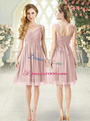 Pretty Straps Sleeveless Homecoming Dress Knee Length Ruching Pink Chiffon