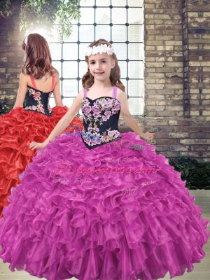 Fuchsia Organza Lace Up Pageant Dress for Womens Sleeveless Floor Length Embroidery and Ruffled Layers