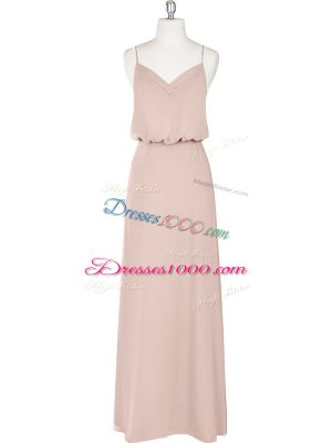Custom Made Baby Pink Zipper Spaghetti Straps Ruching Prom Dress Chiffon Sleeveless