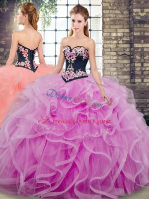 Customized Lilac Ball Gowns Tulle Sweetheart Sleeveless Embroidery and Ruffles Lace Up Quinceanera Gowns Sweep Train