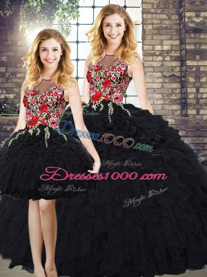 Black Organza Zipper 15th Birthday Dress Sleeveless Floor Length Embroidery and Ruffles