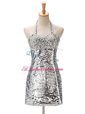 Nice Halter Top Sleeveless Party Dress Mini Length Ruching Silver Sequined