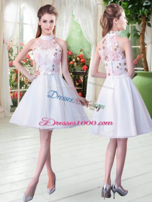 Colorful White A-line High-neck Sleeveless Tulle Knee Length Zipper Appliques Dress for Prom