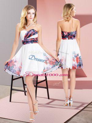 High Class White Chiffon Lace Up Evening Dress Sleeveless Mini Length Pattern