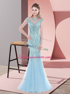 Fashionable Baby Blue Mermaid Beading Prom Gown Zipper Tulle Cap Sleeves