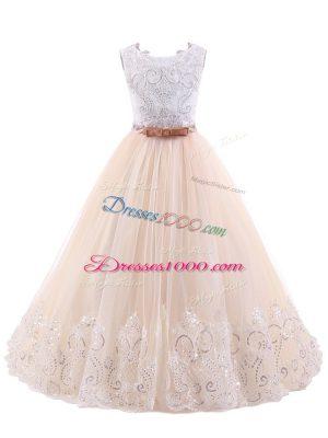 Pink A-line Scoop Sleeveless Brush Train Zipper Lace Flower Girl Dresses