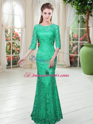 Half Sleeves Floor Length Lace Zipper Evening Dress with Turquoise