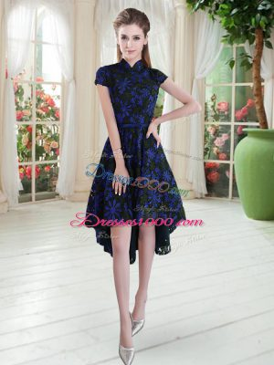 Custom Fit Short Sleeves High Low Appliques Zipper Homecoming Dress with Blue And Black