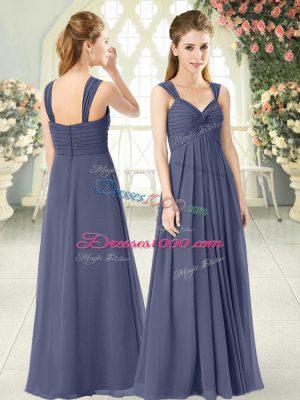 Empire Prom Dresses Blue Straps Chiffon Sleeveless Floor Length Zipper