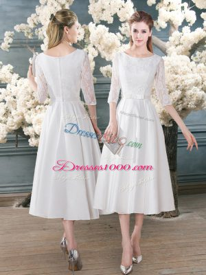 Tea Length White Prom Gown Scoop 3 4 Length Sleeve Zipper