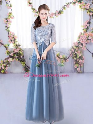 Amazing Blue Tulle Lace Up Scoop Half Sleeves Floor Length Wedding Guest Dresses Lace