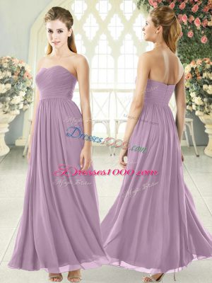 New Arrival Purple Chiffon Zipper Custom Made Sleeveless Ankle Length Ruching