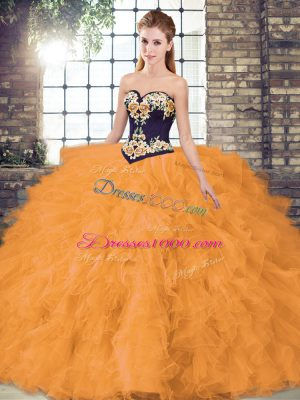 Sleeveless Floor Length Beading and Embroidery Lace Up Quinceanera Gowns with Orange