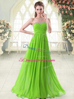 Sweetheart Sleeveless Prom Dresses Floor Length Beading and Ruching Chiffon