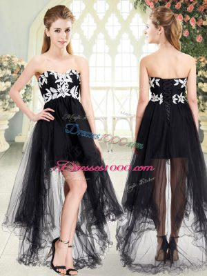 Black Sleeveless High Low Appliques Lace Up Prom Dress