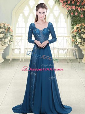 Fashionable Blue Long Sleeves Sweep Train Beading and Lace Prom Party Dress