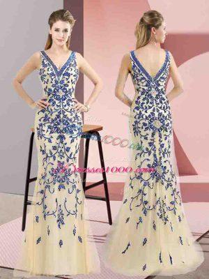 Romantic Mermaid Custom Made Champagne V-neck Tulle Sleeveless Floor Length Zipper