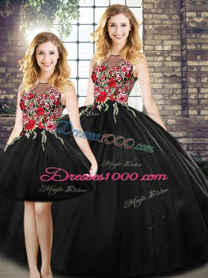 Dramatic Black Ball Gowns Tulle Scoop Sleeveless Embroidery Floor Length Zipper Sweet 16 Quinceanera Dress