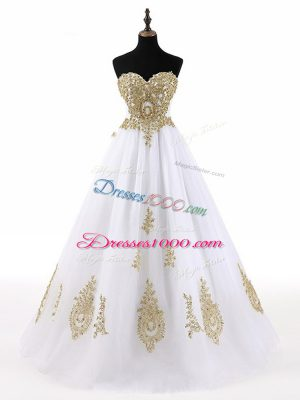 Sleeveless Floor Length Beading and Appliques Lace Up Vestidos de Quinceanera with White