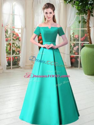 Glittering Turquoise A-line Off The Shoulder Short Sleeves Satin Floor Length Lace Up Belt Evening Party Dresses