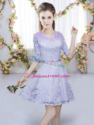 Classical Lavender A-line Lace V-neck Half Sleeves Belt Mini Length Zipper Dama Dress