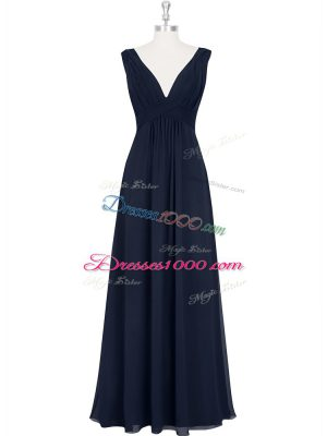 Eye-catching Black V-neck Backless Ruching Prom Evening Gown Sleeveless