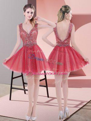 Captivating V-neck Sleeveless Prom Party Dress Mini Length Beading Watermelon Red Tulle