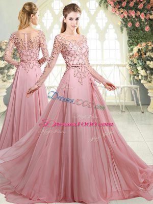 Pink Zipper Evening Dress Beading Long Sleeves Sweep Train