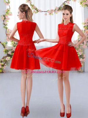 Modern High-neck Sleeveless Zipper Bridesmaid Dresses Red Chiffon
