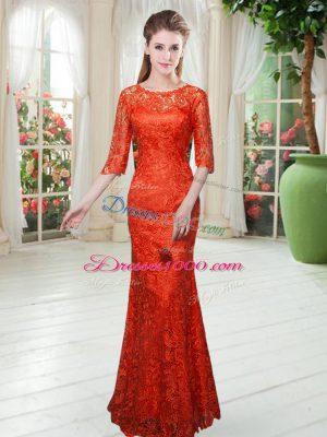 Orange Red Zipper Scoop Half Sleeves Floor Length Evening Dress Lace