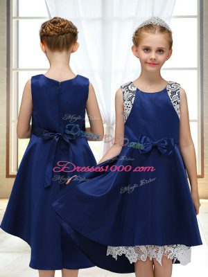 Satin Scoop Sleeveless Zipper Lace and Bowknot Toddler Flower Girl Dress in Navy Blue