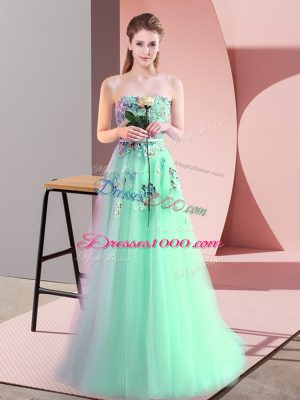 Popular Apple Green Sleeveless Appliques Floor Length Prom Party Dress
