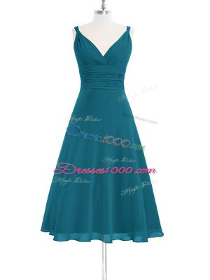 Comfortable Knee Length Zipper Teal for Prom and Party and Military Ball and Wedding Party with Ruching