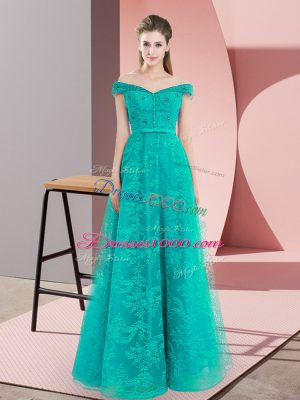 Nice Turquoise Evening Dress Prom and Party with Beading and Lace Off The Shoulder Sleeveless Lace Up