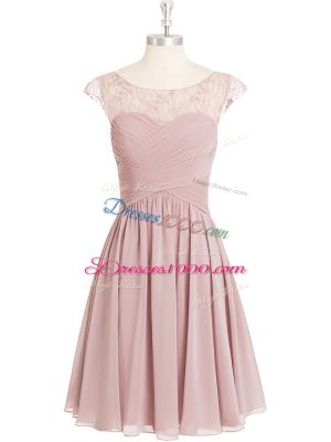 Decent Pink Cap Sleeves Lace Mini Length Prom Party Dress