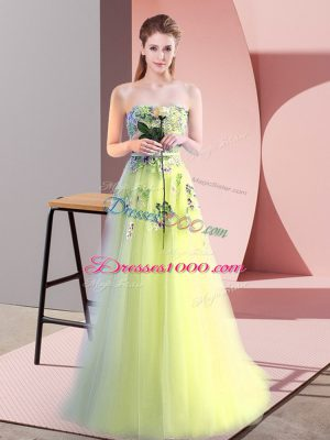 Floor Length Yellow Green Prom Dress Tulle Sleeveless Appliques