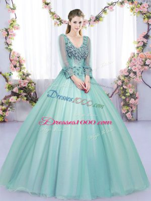 Modest Apple Green Ball Gowns Lace and Appliques Quinceanera Gown Lace Up Tulle Long Sleeves Floor Length