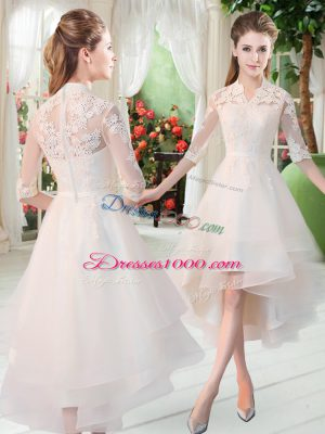 Simple High-neck Half Sleeves Tulle Prom Dress Appliques Zipper